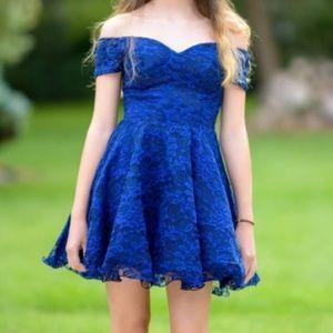 Royal Blue Off the shoulder cocktail dress